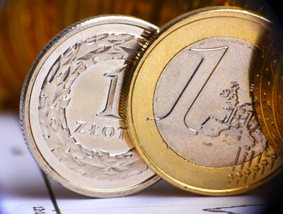 image Euro coin and Zloty coin