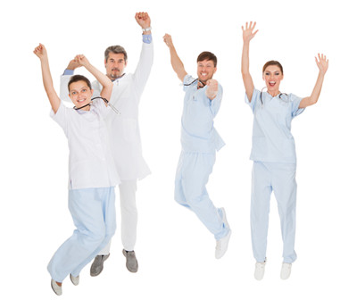 image happy doctors jumping for joy
