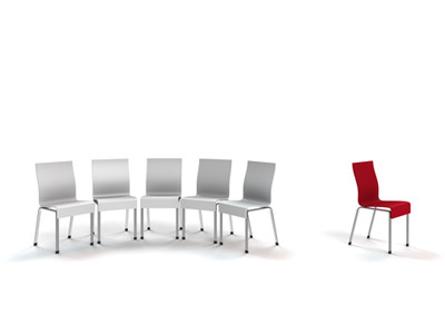 image row of white chairs isolated red