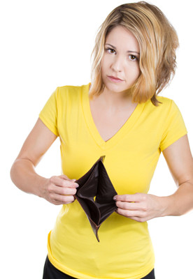 image Polish girl holding empty wallet
