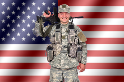 Happy US Army soldier