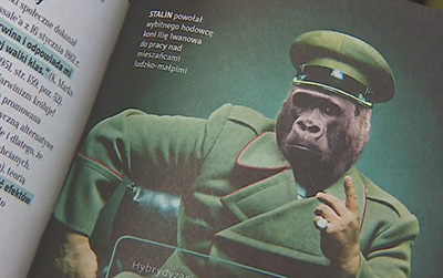 A page from Giertychs book showing a chimpanzee in Stalin's military uniform