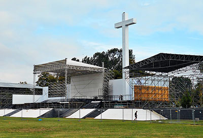 Final touches being added to the WYD field church