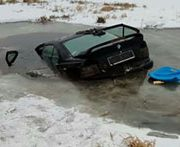 Polish drivers escape death as their cars break through the ice, in two separate incidents