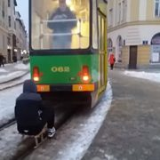 Man attaches sled to tram for a free ride, posted video starts police hunt